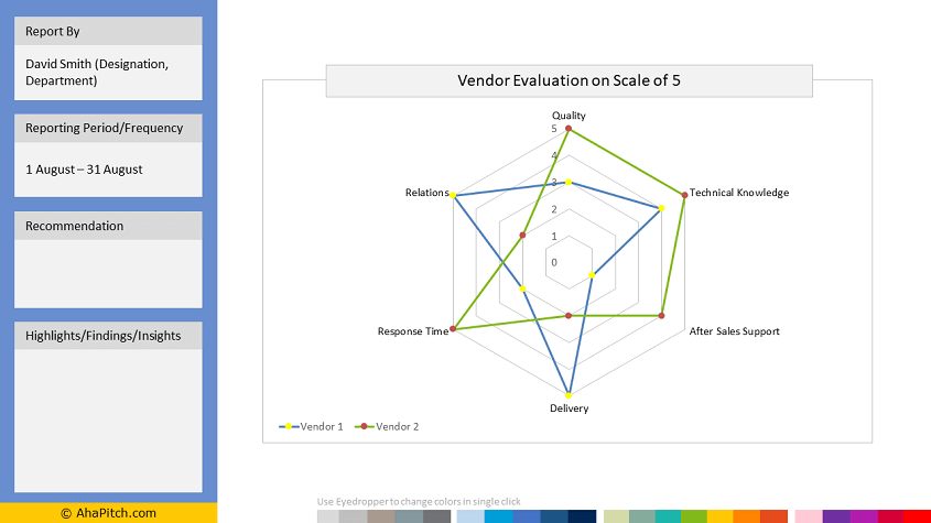 radar chart powerpoint template with 2 series and 6 variables